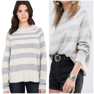 Free People Striped Bubble Wide Neck Sweater